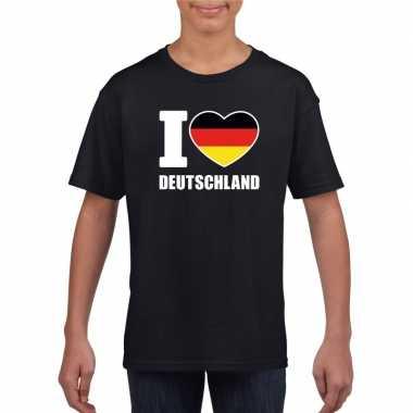 I love deutschland/ duitsland supporter shirt zwart jongens en meisje