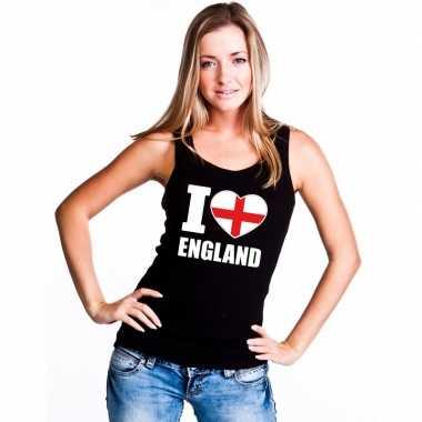 I love engeland supporter mouwloos shirt zwart dames