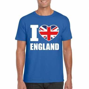 I love england/ engeland supporter shirt blauw heren