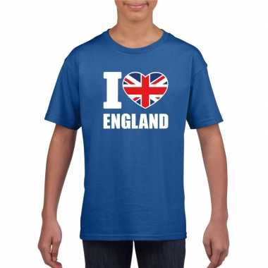 I love england/ engeland supporter shirt blauw jongens en meisjes