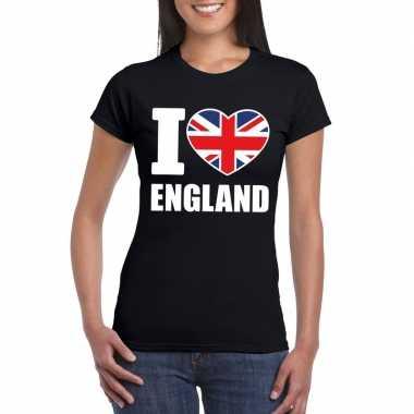 I love england/ engeland supporter shirt zwart dames