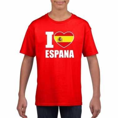 I love espana/ spanje supporter shirt rood jongens en meisjes