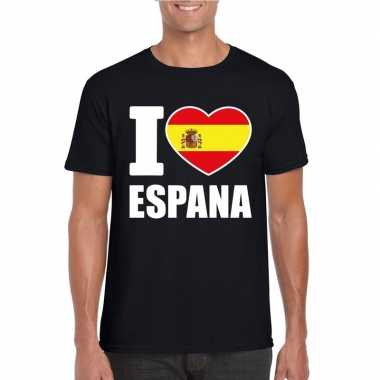 I love espana/ spanje supporter shirt zwart heren
