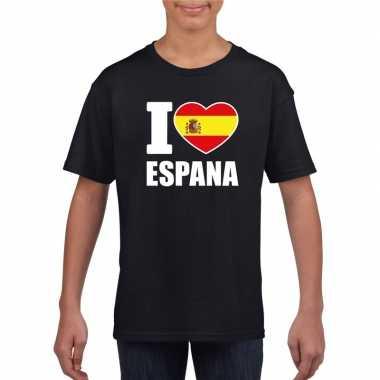 I love espana/ spanje supporter shirt zwart jongens en meisjes