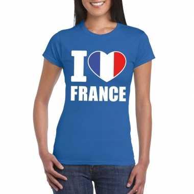 I love france/ frankrijk supporter shirt blauw dames