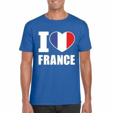I love france/ frankrijk supporter shirt blauw heren