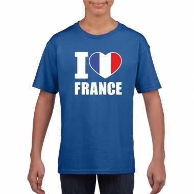 I love france/ frankrijk supporter shirt blauw jongens en meisjes