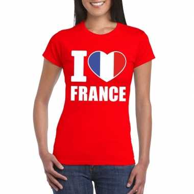 I love france/ frankrijk supporter shirt rood dames