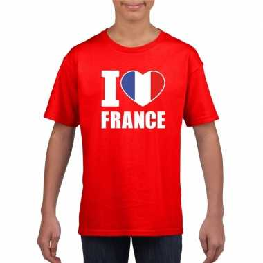 I love france/ frankrijk supporter shirt rood jongens en meisjes