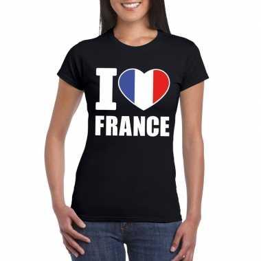 I love france/ frankrijk supporter shirt zwart dames