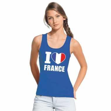I love frankrijk supporter mouwloos shirt blauw dames
