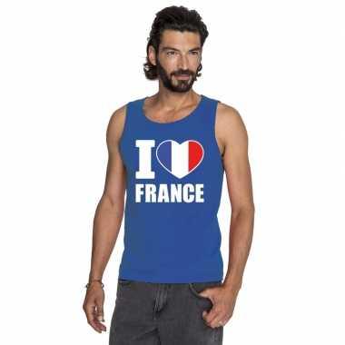 I love frankrijk supporter mouwloos shirt blauw heren