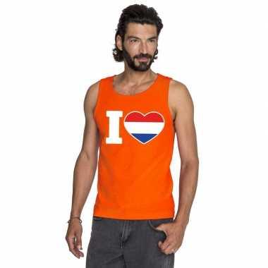 I love holland mouwloos shirt oranje heren