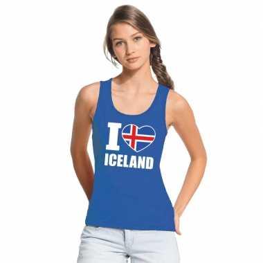 I love ijsland supporter mouwloos shirt blauw dames