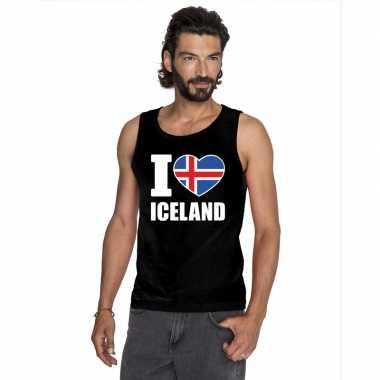 I love ijsland supporter mouwloos shirt zwart heren