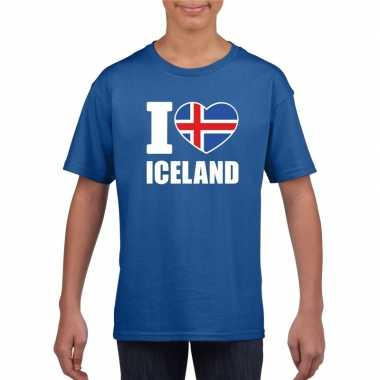 I love ijsland supporter shirt blauw jongens en meisjes