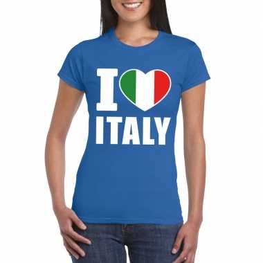 I love italy/ italie supporter shirt blauw dames