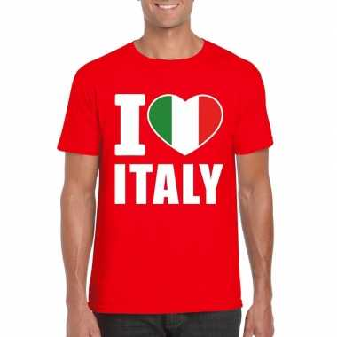 I love italy/ italie supporter shirt rood heren
