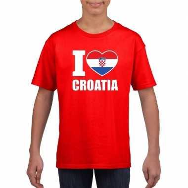 I love kroatie supporter shirt rood jongens en meisjes
