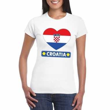 I love kroatie t-shirt wit dames
