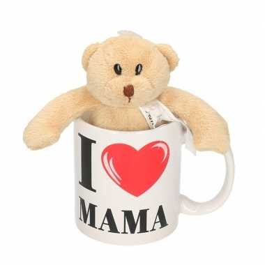 I love mama cadeau mok / beker met berenknuffel voor moederdag
