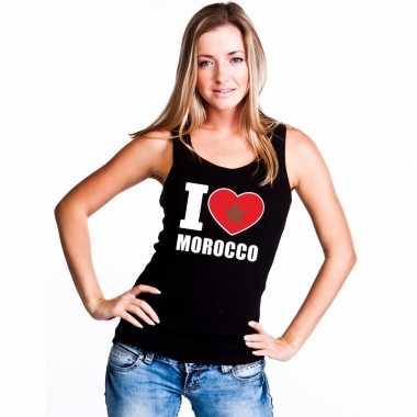 I love marokko supporter mouwloos shirt zwart dames
