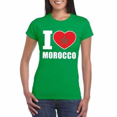 I love marokko supporter shirt groen dames