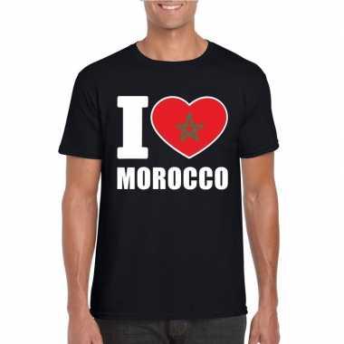 I love marokko supporter shirt zwart heren
