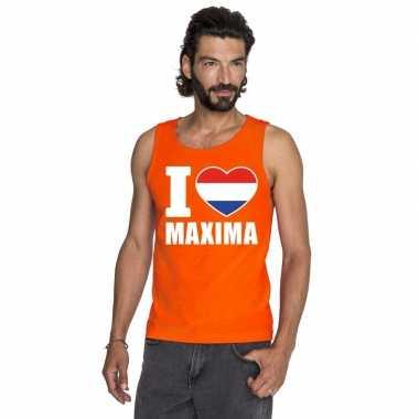 I love maxima mouwloos shirt oranje heren