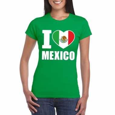 I love mexico supporter shirt groen dames