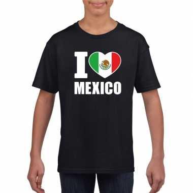 I love mexico supporter shirt zwart jongens en meisjes