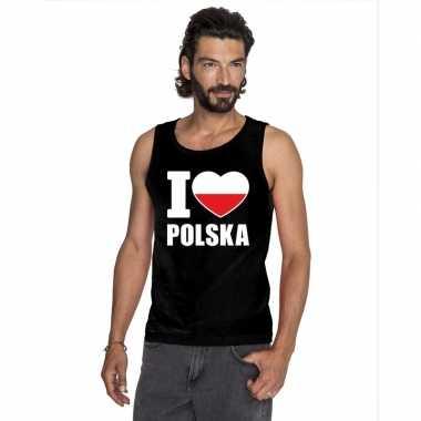 I love polen supporter mouwloos shirt zwart heren