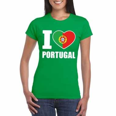 I love portugal supporter shirt groen dames