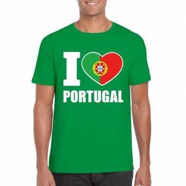 I love portugal supporter shirt groen heren