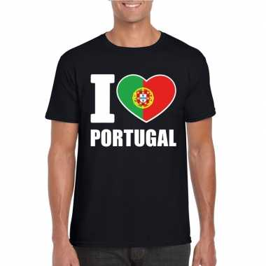 I love portugal supporter shirt zwart heren