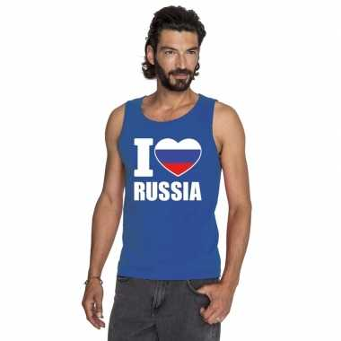 I love rusland supporter mouwloos shirt blauw heren