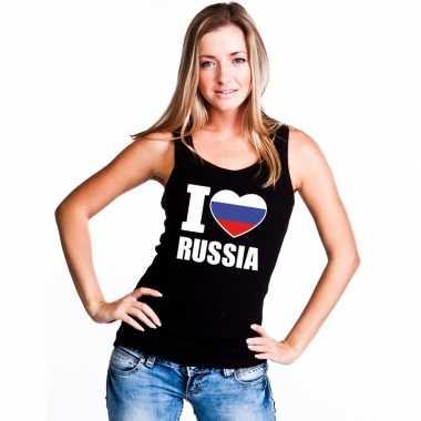 I love rusland supporter mouwloos shirt zwart dames