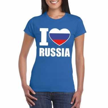 I love rusland supporter shirt blauw dames