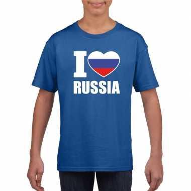 I love rusland supporter shirt blauw jongens en meisjes