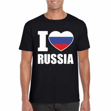 I love rusland supporter shirt zwart heren