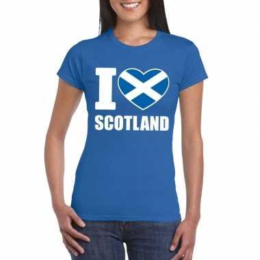 I love schotland supporter shirt blauw dames