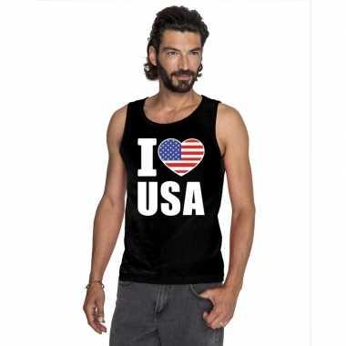 I love usa/ amerika supporter mouwloos shirt zwart heren