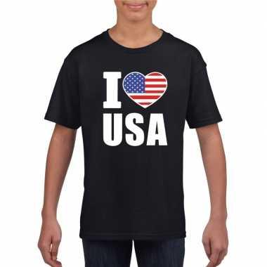 I love usa - amerika supporter shirt zwart jongens en meisjes