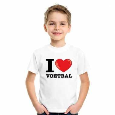 I love voetbal t-shirt wit jongens en meisjes