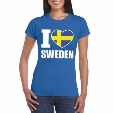 I love zweden supporter shirt blauw dames