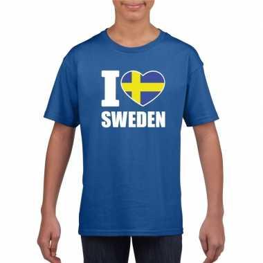I love zweden supporter shirt blauw jongens en meisjes
