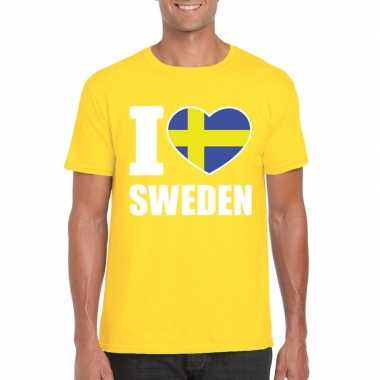 I love zweden supporter shirt geel heren