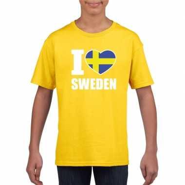 I love zweden supporter shirt geel jongens en meisjes