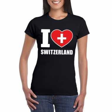 I love zwitserland supporter shirt zwart dames