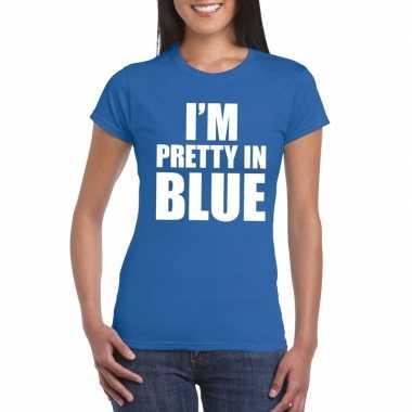 I'm pretty in blue t-shirt blauw dames